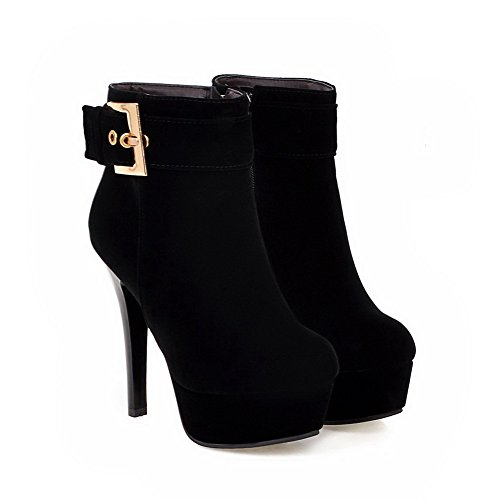 VogueZone009 Donna Tacco Alto Pelle Di Mucca Bassa Altezza Puro Stivali con Zircone Nero