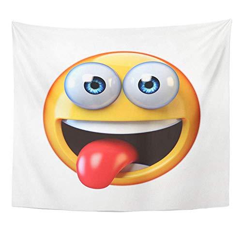 webe-Druck-Ausgangsdekor-gelbes Emoji-Weiß lächelndes Gesicht Emoticon mit heraus haftender Zunge 3D, das Wand-hängende Tapisserie für Wohnzimmer Schlafzimmerschlafsaal hängt ()