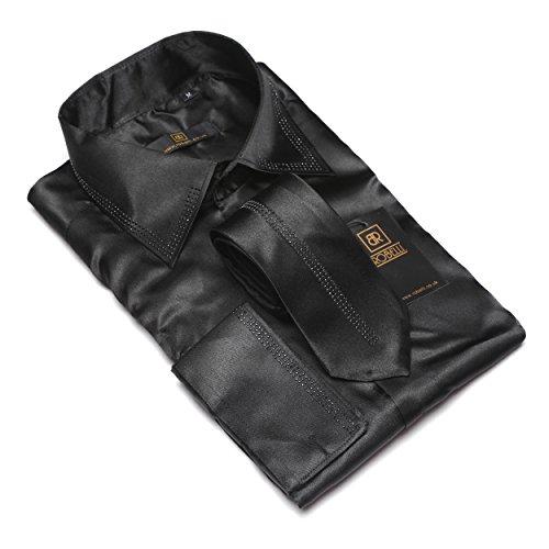 Herren lässig elegant Baumwolle/Satin langärmlig Hemd & Krawatte Satz Sammlung Black No. 1