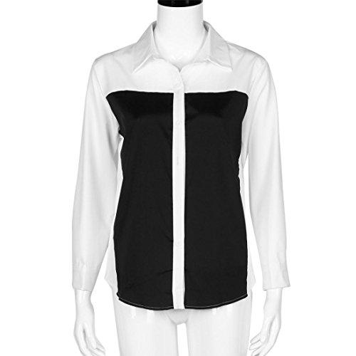 WOCACHI Damen Langarm beiläufige lose Schwarzweiss Hit Farbe Shirt Frauen Tops Mode Bluse Weiß