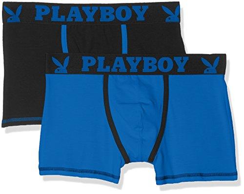 Playboy Herren Boxershorts 2er Pack Classic Cool Multicolore (Noir Bleu/Bleu)