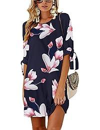 Udgwaz Damen Kleid Lose 3 4 Ärmel Druckkleid Tunika Sommerkleider Blumen  Minikleid c9664f466f