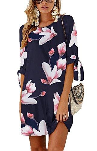 (Udgwaz Damen Kleid Lose 3/4 Ärmel Druckkleid Tunika Sommerkleider Blumen Minikleid)