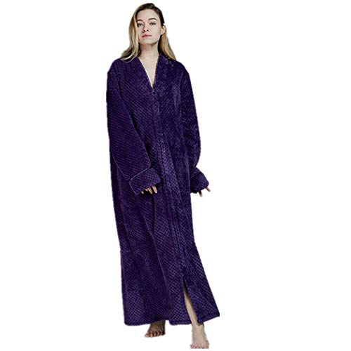 VJGOAL Moda Casual de Invierno Bata de baño Vellón Suave Transpirable Albornoz Bata Túnica Marcas largas y Pijama Spencer Bata de Noche(Medium,Púrpura)