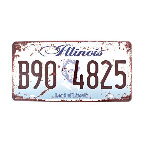TANGGOOD Tangood 15,2 x 30,5 cm Vintage Feel Rustikales Haus-, Badezimmer- und Bar-Wanddekoration, Auto-Kennzeichen, Souvenir aus Metall (Florida B10 ASP), Illinois Land of Lincoln, 6x12 Inches