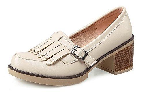 VogueZone009 Femme Boucle à Talon Correct Pu Cuir Couleur Unie Rond Chaussures Légeres Beige