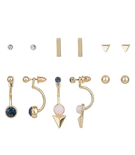 """SIX\""""Basic\"""" goldene Damen Ohrringe, Set aus 6 Paar Ohrsteckern mit weißen oder blauen Steinen, Schaukel Ohrringe, Ear Jacket, kombinierbar (700-548)"""