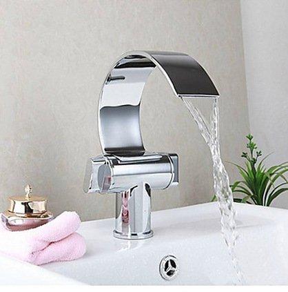 YC Doppio manico cascata bagno vanità lavello universale gigante curvo cromato rubinetto valvola luce durevole (Piatto Gigante)