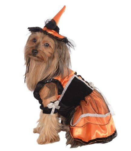 Rubie's Pet Costume, Medium, Orange Witch Dress and Hat by Rubie's