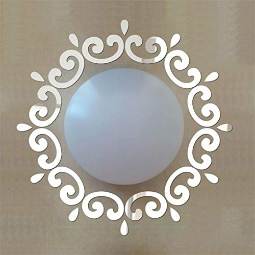 JXNY DIY runde artikel außendekor 3D Feder Spiegel Wandaufkleber Kreise aufkleber dekoration wand deckenaufkleber set für spiegellampe 49X30 CM