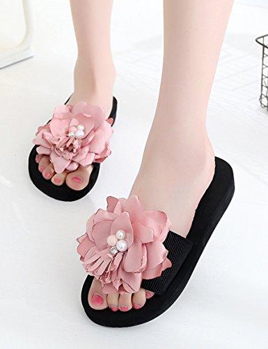 Estate Sandali Tacchi alti scivolosi femminili Beaches beach slippers Pendio casual con pantofole di marea spessa Colore / formato facoltativo B