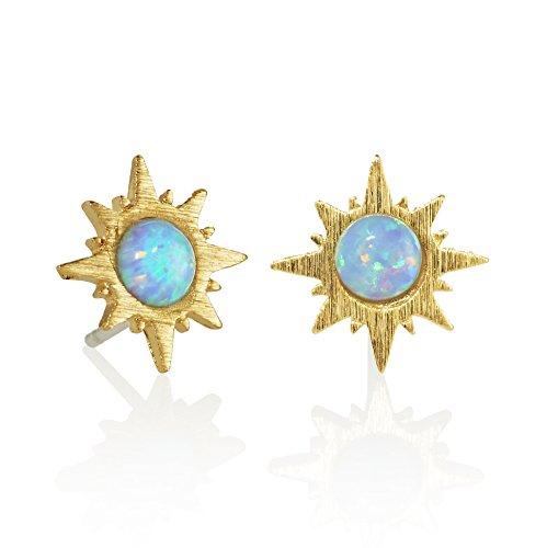 (NAMANA Ohrstecker mit Sonnenschein Opal, gebürstetes Finish, 14 Karat vergoldete Sonnen Ohrringe, nickelfrei und bleifrei kleine Ohrstecker)