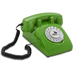 Teléfono estilo retro/diseño vintage de los años sesenta con disco de marcar (verde)