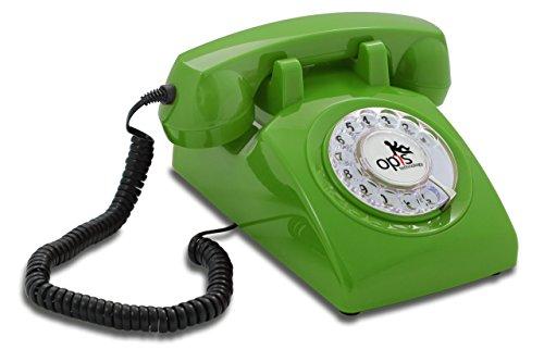 OPIS 60s CABLE: Teléfono estilo retro / diseño vintage de los años sesenta con disco de marcar (verde)