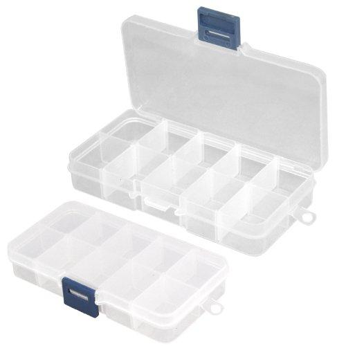 TRIXES 2 boîtes de rangement transparentes pour tips capsules faux ongles