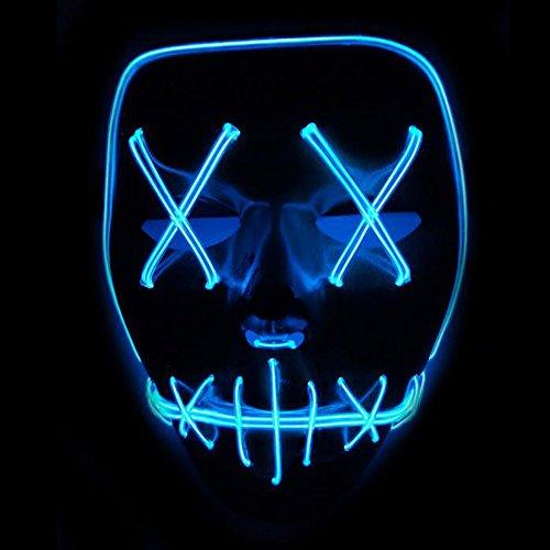 Xdffy Halloween Maske LED Aufhellen Komisch Masken Groß Festival Cosplay Kostüm Lieferungen Party Masken Leuchtet im Dunkeln (Blau)