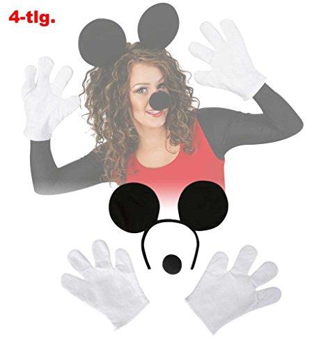 Set Comic Maus Mouse Kit Mäuschen Mauseohren Mausehandschuhe Mausenase Oren Micky Haarreif Handschuhe Nase Schaumstoffnase Verkleidungsset Kostümzubehör AccessoireKarneval Fasching Mottoparty