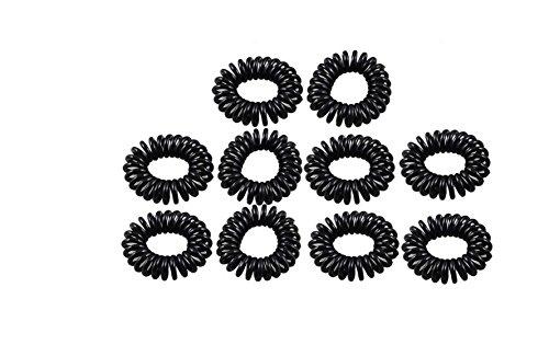 SMO 10 x Bande de cheveux elastique en plastique noir Fil du telephone Pour porter la queue de cheval