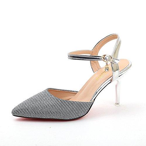 Silberne Hochzeit Heels (STOWNN High Heel Schuhe, Frühling und Sommer, Neuen Flachen Schuh Leder Sandalen mit Feinen Absatzhöhe: High Heel (6-8 cm) Schwarz, Gold, Silber, Silbern, 8-8,5)