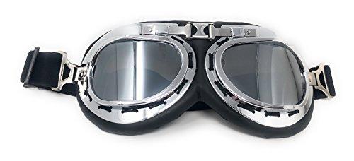 Ultra plateado con lentes de espejo plateado Piloto volador y estilo de motocicleta Gafas Steampunk de calidad superior Gafas cibernéticas Cosplay estilo punk victoriano en estilo gótico Rave Novedad