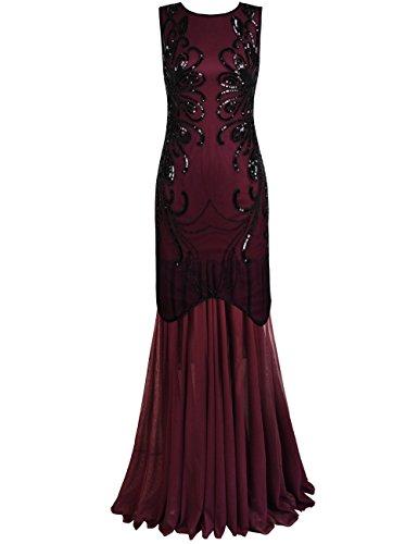PrettyGuide Damen Ballkleid Paillette Lange Gatsby Formal Abendkleid XL Burgund