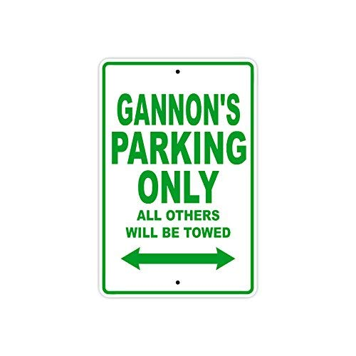 VINMEA Metallschild Gannon's Parking Only All Others Will Be Towed, 25,4 x 35,6 cm