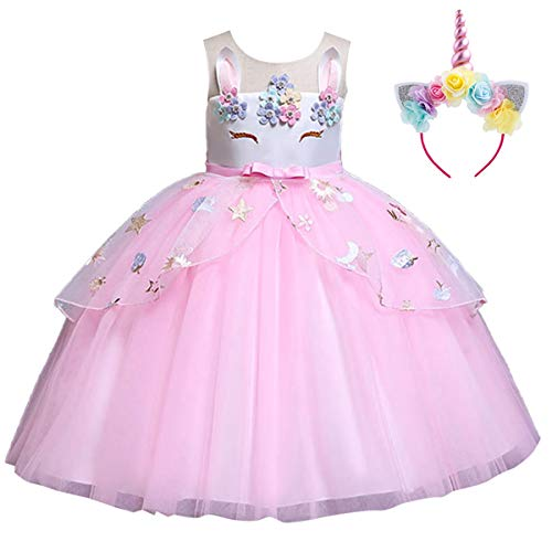 IWEMEK Mädchen Einhorn Kleid Stirnband Karneval Halloween Kostüm Cosplay Fancy Dress up Kinder Tüll Tutu Prinzessin Kleid Geburtstag Weihnachten Party Festzug Ankleiden Rosa 11-12 Jahre (Festzug Fancy Dress Kostüm)