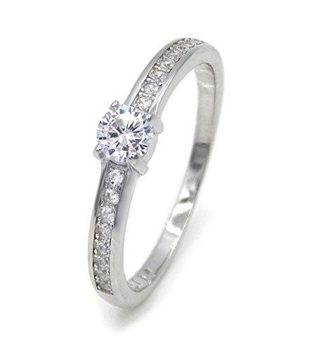 Ring Solitär 925 Sterling Silber rhodiniert 17 Zirkonia Silberring Verlobungsring Ringe Damen (56 (17.8))