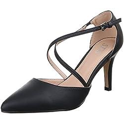 Damen Schuhe, 9783-P, PUMPS, HIGH HEELS, Synthetik in hochwertiger Lederoptik , Schwarz, Gr 39