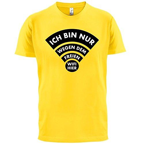 Ich bin nur wegen dem freien Wifi hier - Herren T-Shirt - 13 Farben Gelb