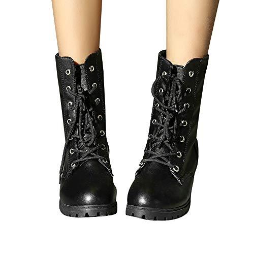 TianWlio Boots Stiefel Schuhe Stiefeletten Frauen Herbst Winter Einfarbig Med Schuhe Combat Riding Stiefeletten Lässige Warme Booties Weihnachten Schwarz 42