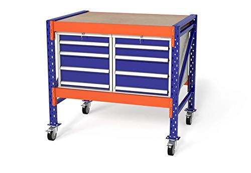 Arbeitstisch Werktisch Werkbank fahrbar B120xH89-129xT80cm, Multiplexplatte, Module: 2x WS4