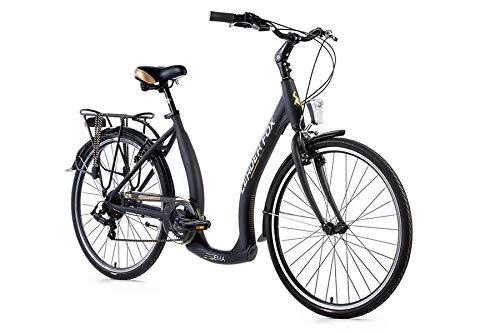 "26\"" Zoll Alu Damen City Bike LEADER FOX Ema Fahrrad Tiefeinsteiger Shimano 7 Gang grau"