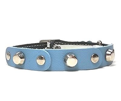 Design Katzenhalsband mit Sicherheitsverschluss | Schönes Leicht Blau Schwarz Leder mit Nieten