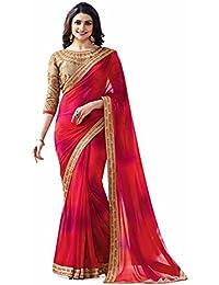 Rajeshwar Fashion Women's Silk & Georgette Silk & Georgette Saree (18070 Red Peding Blossom,8_Red)
