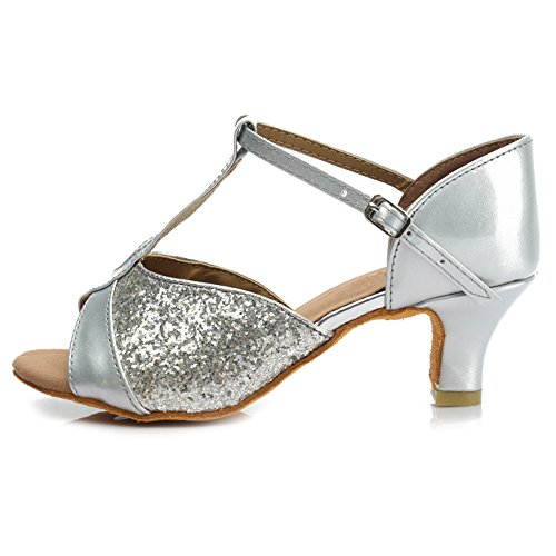 HIPPOSEUS Zapatos de Baile Latinos estándar de Mujer,259-5,Plateado Color,EU 36