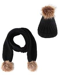 Culer 2pcs para niños Niños Niñas sombrero de la bufanda Conjunto nieve del  invierno Beanie cráneo 95cf670e7e1
