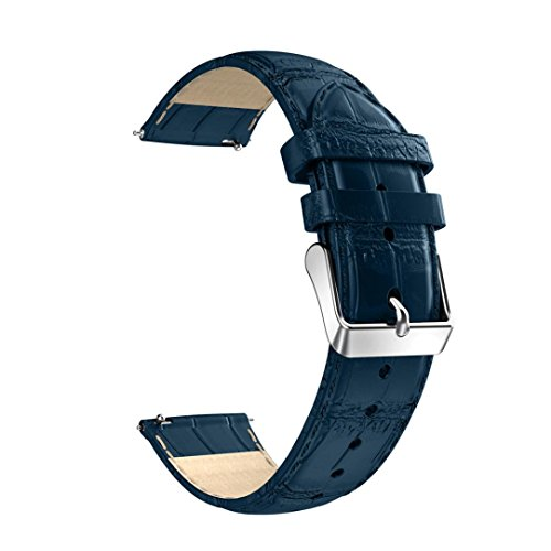 HappyTop Uhrenarmband 22mm, Leder Armbanduhr Armband Band Ersatz für Samsung Gear S3 S blau -
