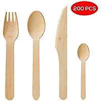 Couverts jetables en bois paquet de 200 - 50 fourchettes, 50 couteaux, 50 cuillères et 50 cuillères à dessert / thé, L'alternative écologique et chic au plastique