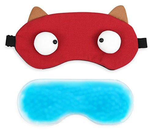 95f520d83 PLEMO Antifaz con Gel de Perlas Oculares Compresa Frío- Calor 100%2525  Bloquea la Luz Perfecto para Antifatiga y Antiojeras 2 in 1 Rojo