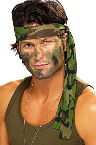 Kostüm Rambo Perücke - Herren Damen Armee Tarnmuster Rambo Stirnband Schal Kostüm Verkleidung Zubehör