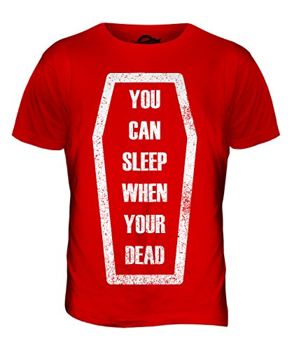 CandyMix Sleep When You'Re Dead T-Shirt da Uomo Maglietta Rosso