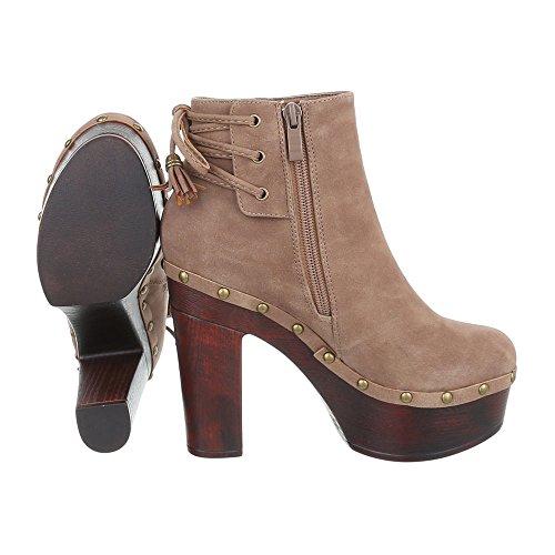 Ital-Design High Heel Stiefeletten Damenschuhe Schlupfstiefel Pump High Heels Reißverschluss Stiefeletten Hellbraun 55-544