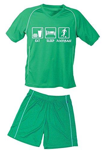 Trikotset Fussball EAT SLEEP FOOTBALL Kinder Trikot + Hose green-green, Kids 110-116 cm (Aufstellung T-shirt)