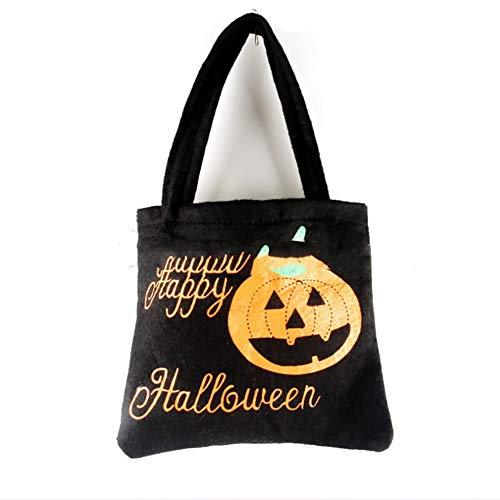 (Halloween Deko Grusel Dekoration Set Halloween Tote Bag Non-Woven Tasche Schwarz 1 Stück für Halloweendeko Make-up-Party Halloween Dekoration)