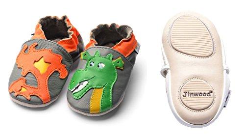 Jinwood designed by amsomo - Jungen - Maedchen - Hausschuhe - ECHT LEDER - Lederpuschen - Krabbelschuhe - soft sole / mini shoes div. Groeßen dragon grey mini shoes