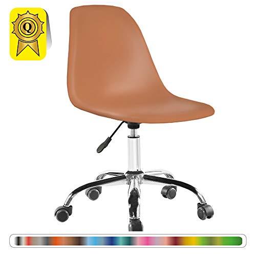 Decopresto 1 x Schreibtischstuhl Beine:Chrom Stitz:Nussbaum DP-DSOA-MC-1P - Esszimmer Nussbaum Barhocker