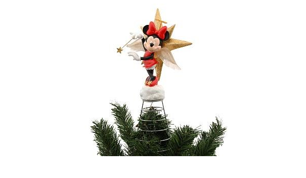 Disney Mickey Mouse Silver Metal Wire Christmas Tree Topper Top Ornament In Box
