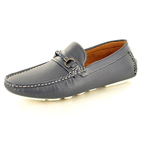 New Men 's perforiert Casual Loafer Mokassins Slip auf Schuhe Marineblau