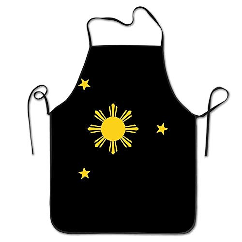 LCleanbee Philippines Flag Women Men Kitchen Bib Apron Cafe Coffee Shop with Adjustable Neck Chef's Apron